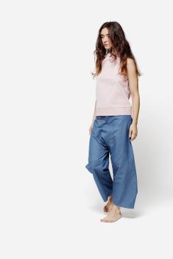 Croco | top in cotone a righe -Turchina | pantalone in cotone jeans